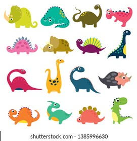 Funny cartoon dinosaurs collection. Vector illustration.