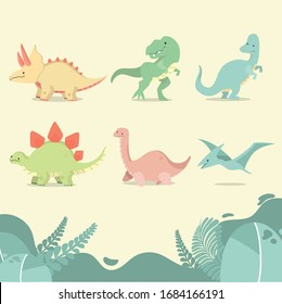 Funny cartoon dinosaurs vector collection.