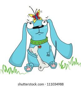 Funny cartoon dog birthday card
