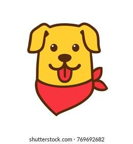 Funny cartoon dog head drawing with red bandana. Cute Golden retriever portrait vector illustration.
