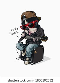funny cartoon dog in sunglasses with electric guitar illustration