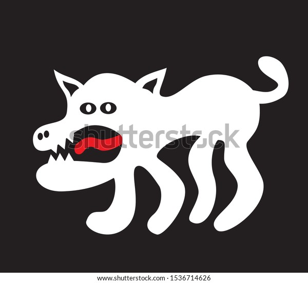 Funny Cartoon Dog Wolf Toothy Mouth Stock Vector Royalty Free