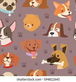 Funny cartoon dogs characters different breads doggy puppy illustration. Furry human friends cute animals seamless pattern background