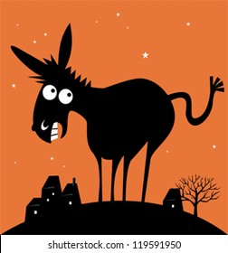 Funny cartoon donkey