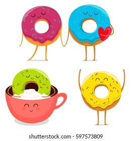 Funny cartoon donut characters set in leisure. Vector illustration.