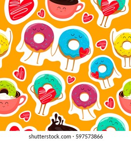 Funny cartoon donut characters stickers in leisure. Cartoon face food emoji. Donut emoticon. Funny food stickers seamless vector illustration.