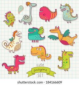 Funny cartoon dragon set in vector. Bright fantastic characters