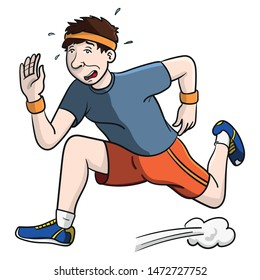 Funny cartoon drawing of a sweaty jogger in colorful clothes running a marathon and out of breath.  Character design, illustration, vector.