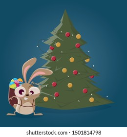 funny cartoon easter bunny standing standing in front of a christmas tree