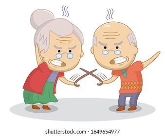 Funny cartoon elderly couple duel with canes. An elderly married couple quarrel.Bad relationship concept. Design for print, t-shirt, party decoration, sticker, etc.