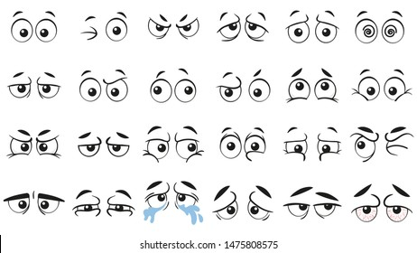 Funny cartoon eyes. Human eye, angry and happy facial eyes expressions. Comic facial character caricature, human eye emotions doodle. Isolated vector illustration icons set