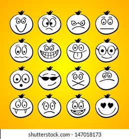 Funny cartoon faces.
