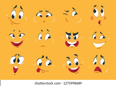 Funny cartoon faces. Angry character expressions eyes doodle crazy mouth fun sketch weird comic. Vector cartoons expression