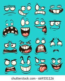 Funny cartoon faces with different expressions. Vector clip art illustration with simple gradients. Each on a separate layer.