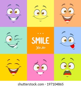 Funny cartoon faces with emotions on bright colored background