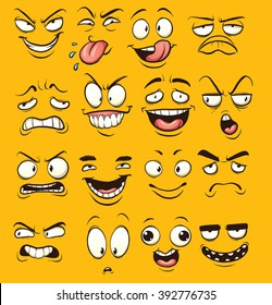 Funny cartoon faces. Vector clip art illustration with simple gradients. Each face on a separate layer.