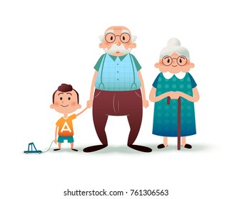 Funny cartoon family. Happy grandfather, grangmother and grandson. Granddad and little boy holding hands. Happy family concept. Cartoon vector flat illustration.