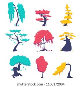 Funny cartoon fantasy shape tree set, vector nature elements, isolated on white. Vector illustration for games