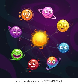 Funny cartoon fantasy solar system with colorful planet and sun characters on the space background. Vector childish astronomic illustration.