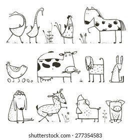 Funny Cartoon Farm Domestic Animals Collection for Kids Coloring Page. Countryside cottage animals illustration for children coloring book. Vector EPS10.