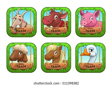 Funny cartoon farm game logo templates. Application store vector icons with cute animal faces.