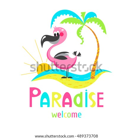 Funny Cartoon Flamingos On The Beach Sweet Illustration Can Be Used For Birthday Cards And