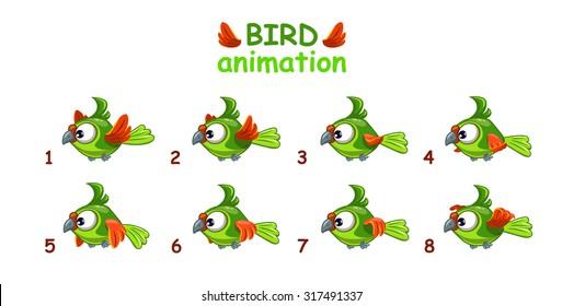Funny cartoon flying green parrot, bird animation frames