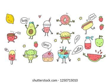 Funny Cartoon food in kawaii style. Vector kawaii food