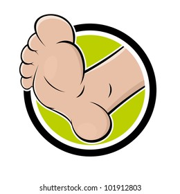 funny cartoon foot in a badge