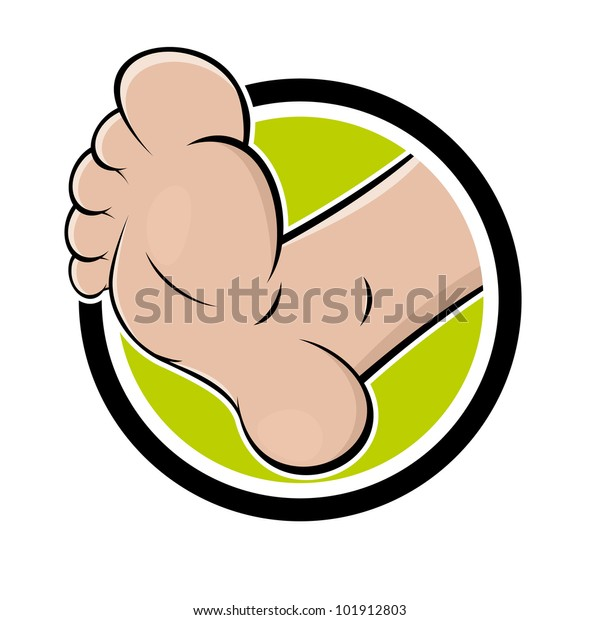 Funny Cartoon Foot Badge Stock Vector (Royalty Free) 101912803