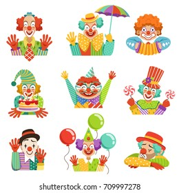 Funny cartoon friendly clowns character colorful vector Illustrations