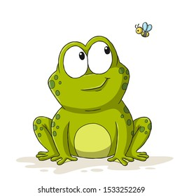Funny cartoon frog with bee. Hand drawn vector illustration.