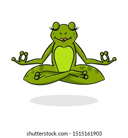Funny Cartoon Frog in Yoga Pose - Vector Character