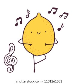 Funny cartoon fruit ballet dancer lemon character.  treble clef image.