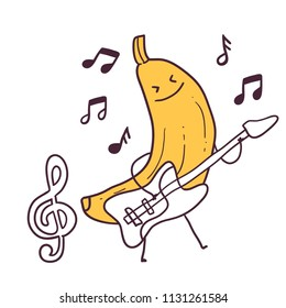 Funny cartoon fruit musician banana character with guitar.  treble clef image.