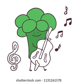 Funny cartoon fruit musician broccoli character with double bass.  treble clef image.
