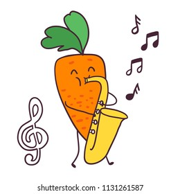 Funny cartoon fruit musician carrot vegetable with saxophone.  treble clef image.