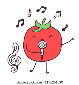 Funny cartoon fruit singer tomato character holding microphone.  treble clef image. Adorable vegeteable in Karaoke.