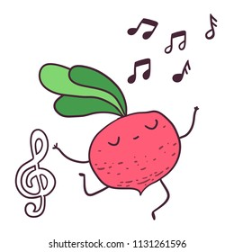 Funny cartoon fruitdancer beetroot character  treble clef image.