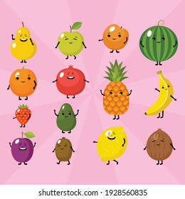 Funny cartoon fruits on a pink background. Vector illustration