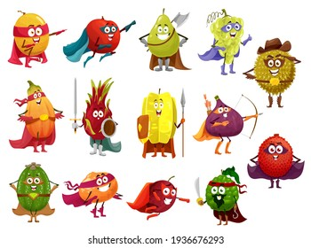 Funny cartoon fruits of superhero, pirate, cowboy and knight vector characters. Papaya, orange, peach and grape, fig, lychee, feijoa and durian, carambola, melon and pear with hero cape, mask, sword