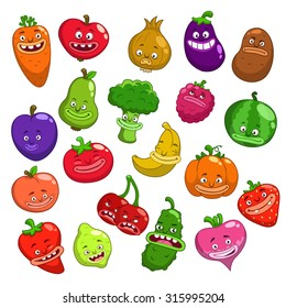 Funny cartoon fruits and vegetables characters, vector set, isolated on white