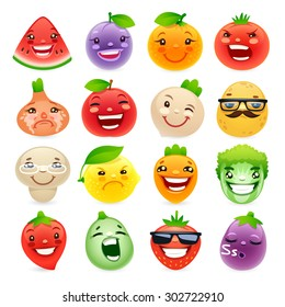 Funny Cartoon Fruits and Vegetables with Different Emotions. Isolated on white background.