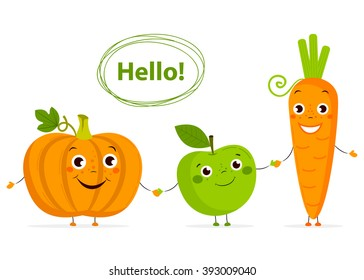 Funny Cartoon fruits and vegetables with eyes in flat style. Carrot, apple,  pumpkin. Colorful Vector Clip art. Isolated illustration on white