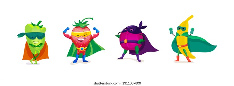 Funny cartoon fruits and vegetables in superhero costumes. Healthy eating, organic products, vegetarian food. Cute pepper, strawberry, plum, banana, in superhero cloaks and masks. Vector illustration.