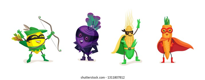 Funny cartoon fruits and vegetables in superhero costumes. Healthy eating, organic products, vegetarian food. Cute lemon, beet, corn, carrot, in superhero cloaks and masks. Vector illustration.