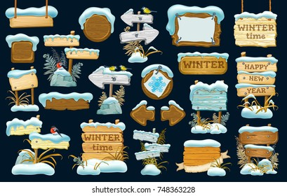 Funny cartoon game icons in the snow with leaves. Set wood board  for sale, advertising, price and discount. Vector illustration.