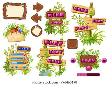 Funny cartoon game panels in jungle style, wooden gui elements with leaves and liana.