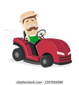 funny cartoon gardener with lawn mower tractor