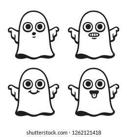 Funny cartoon ghost drawing set with different expressions. Cute Halloween vector illustration.